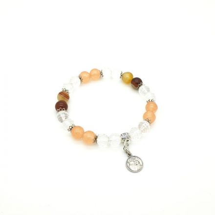 Bracelet Jade pêche et Agate