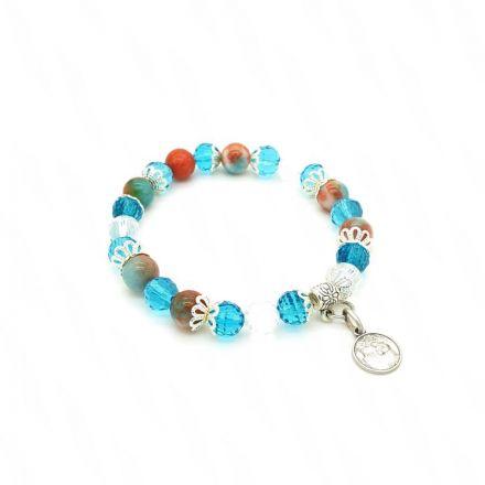 Bracelet Jade et Cristal bleu