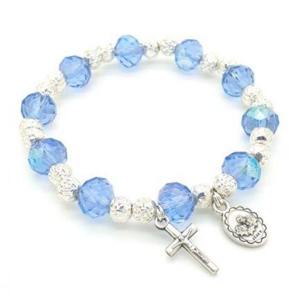 Bracelet perles en cristal bleu