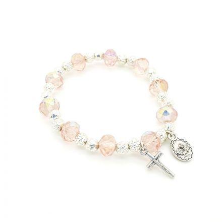 Bracelet perles en cristal rose