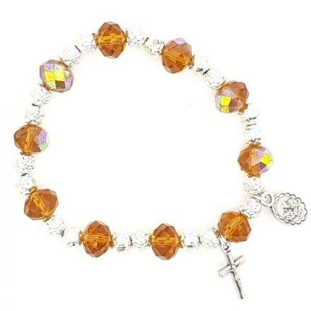 Bracelet perles en cristal ambre