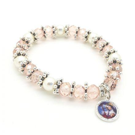 Bracelet perles roses et strass