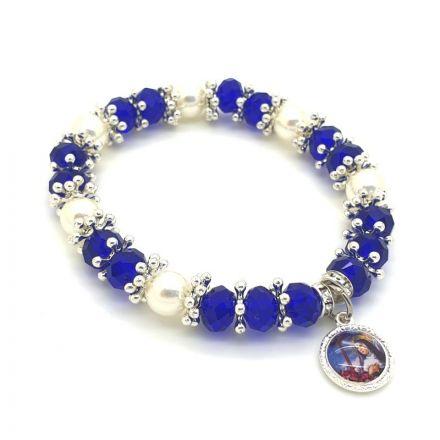 Bracelet perles bleues et strass