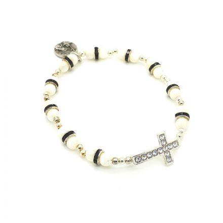Bracelet dizainier avec croix en strass