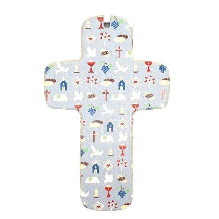 Croix en bois bleue