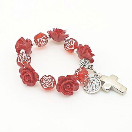 Petit dizainier roses et perles rouges