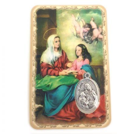 Carte avec médaille Sainte Anne