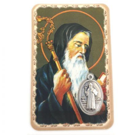 Carte avec médaille Saint Benoît