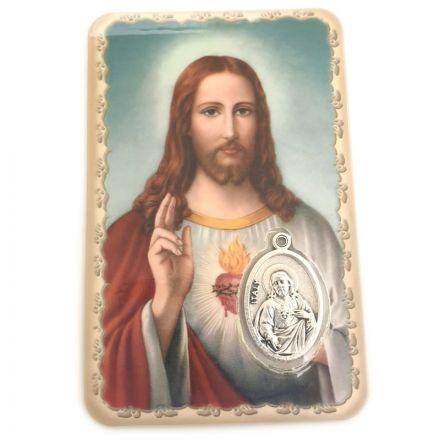 Carte avec médaille Sacré Cœur de Jésus