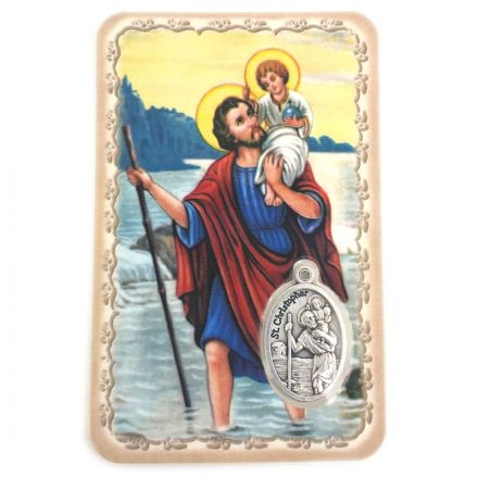 Carte avec médaille Saint Christophe