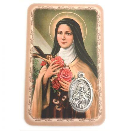 Carte avec médaille Sainte Thérèse de l'Enfant Jésus