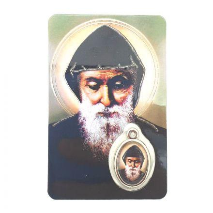 Carte avec médaille Saint Charbel Makhlouf