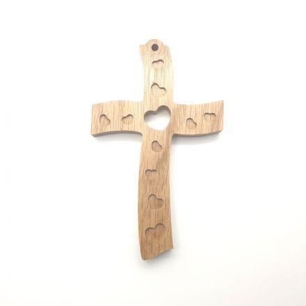"""Croix en chêne """"coeur"""""""