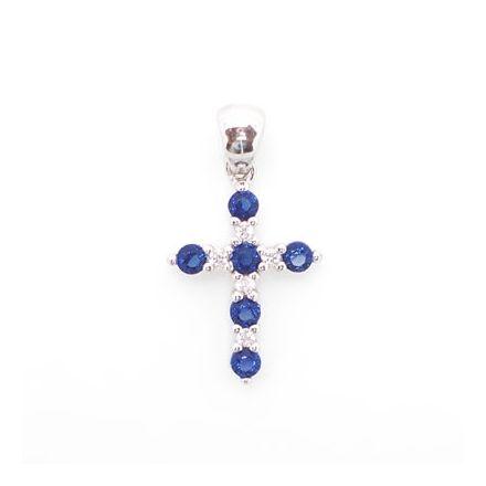 Croix argent avec zirconiums bleus
