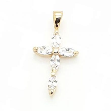 Croix plaqué or avec zirconiums