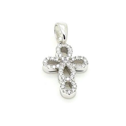 Croix argent avec zirconium