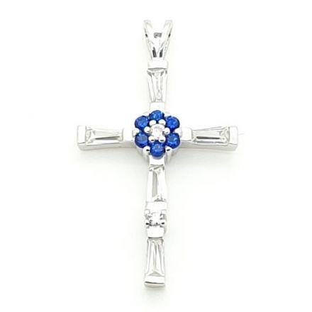 Croix argent avec zirconium bleu