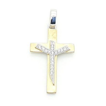 Croix plaqué or avec zirconium
