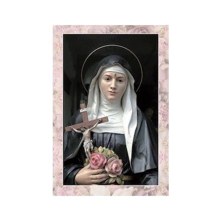 Image Sainte Rita avec crucifix et roses