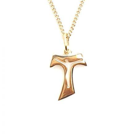 Croix de Tau plaqué or avec Christ