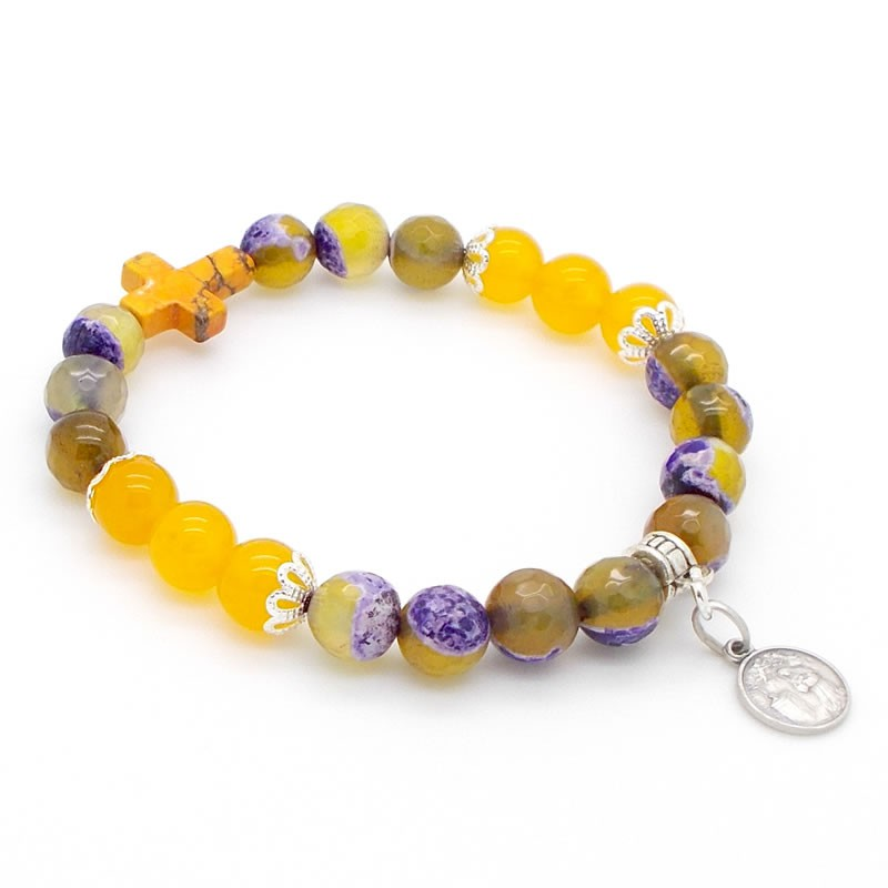 Bracelet Jade, Agate et croix