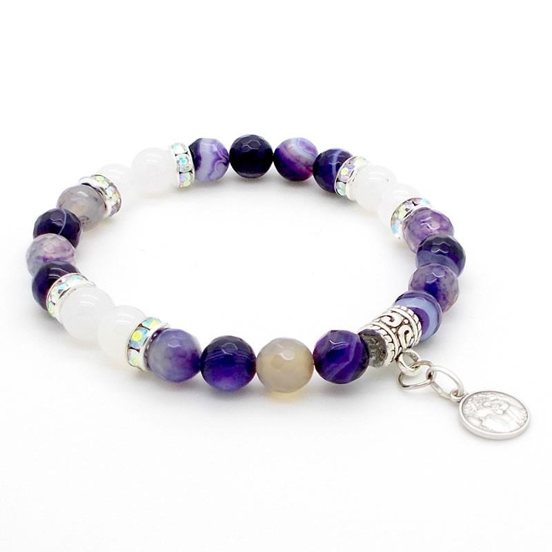 Bracelet Agates Indigo et Onyx