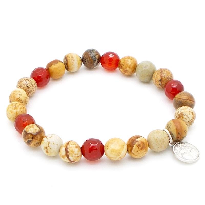 Bracelet beige et rouge
