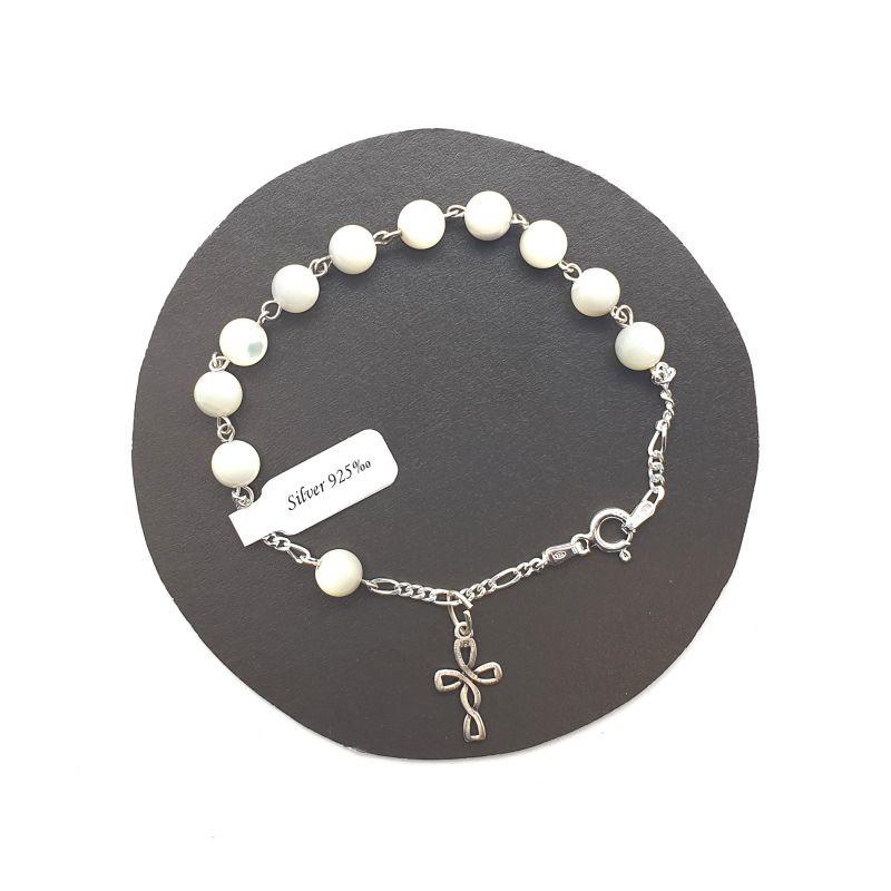 Bracelet dizainier argent et nacre
