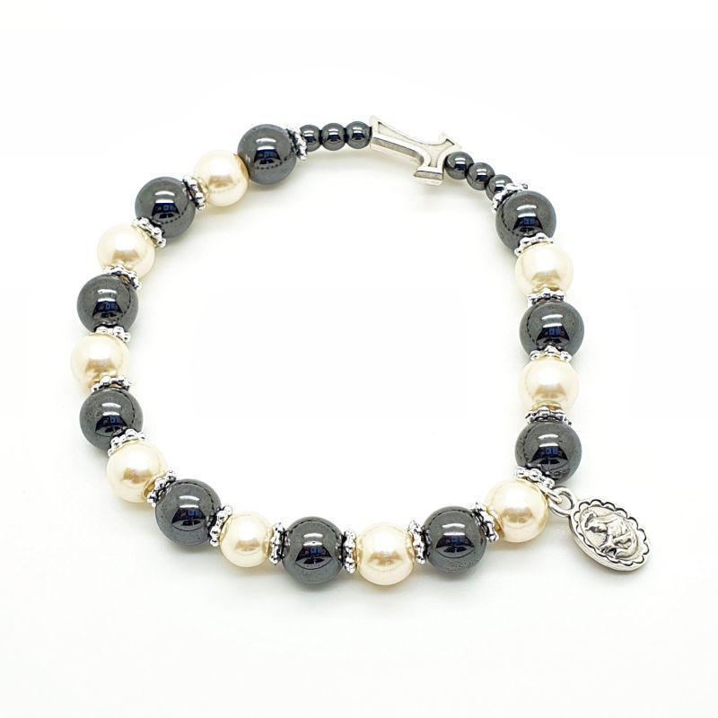 Bracelet hématite avec croix