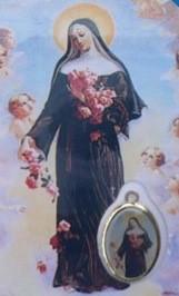 Carte avec médaille de Sainte Rita