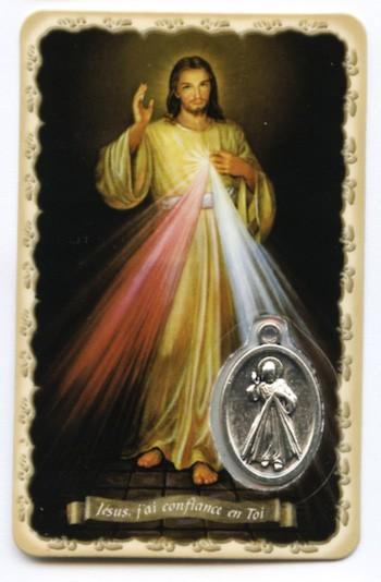 Carte avec médaille Christ Miséricordieux