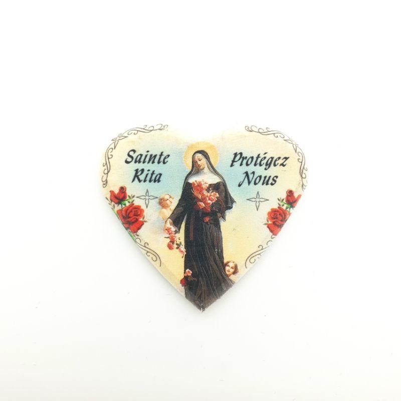 Magnet forme cœur Sainte Rita