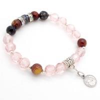 Bracelet Agate et Cristal rose