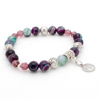 Bracelet Agate et Cristal violet