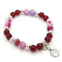 Bracelet Jade rose et Cristal rouge