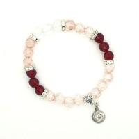 Bracelet Cristal rouge et rose