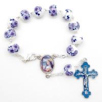 Bracelet dizainier fleurs violettes