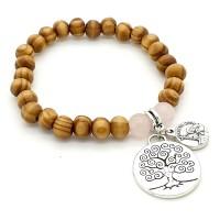 Bracelet bois et médaille arbre de vie