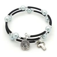 Bracelet dizainier spirale perles bleues
