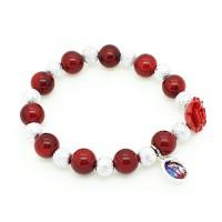 Bracelet avec rose rouge