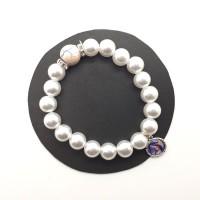 Bracelet blanc, perle rose et strass