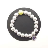 Bracelet blanc, perle jaune et strass