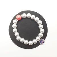 Bracelet blanc, perle corail et strass