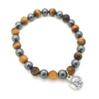 Bracelet homme hématite et œil de tigre