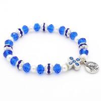 Bracelet bleu avec croix