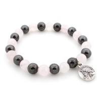 Bracelet hématite et quartz rose