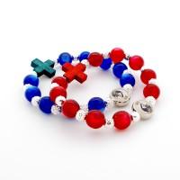 Lot de 2 bracelets perles bleues et rouges