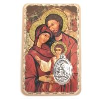 Carte avec médaille Sainte Famille