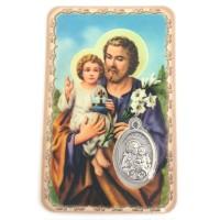 Carte avec médaille Saint Joseph