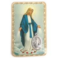 Carte avec médaille Notre Dame de la Médaille Miraculeuse